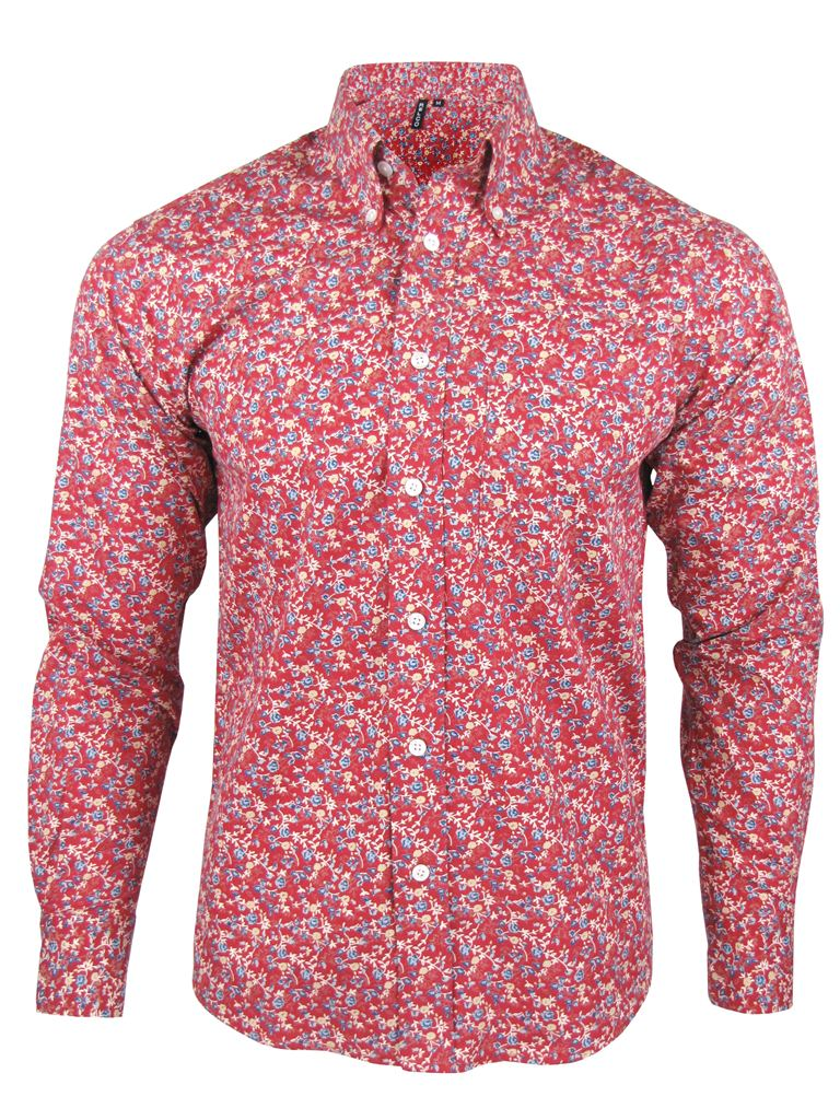 Mens retro relco floral shirt l s button down collar red for Men s down shirt