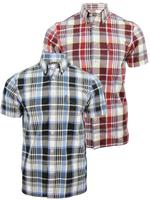 Mens Ben Sherman Shirt Short Sleeved Laundered Madras Check