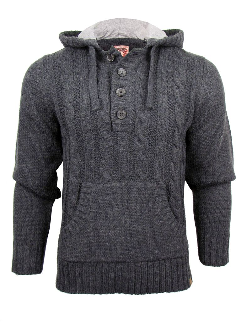 Mens Tokyo Laundry Java 2 Cable Knitted Hoodie Button Jumper/ Sweat...