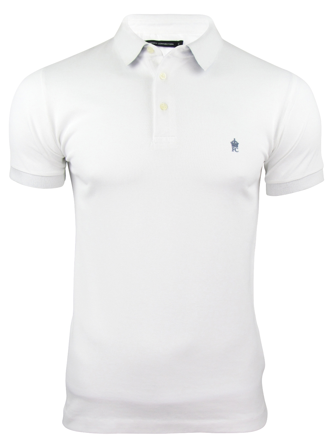 Mens fcuk french connection mini collar pique polo t for Mens collared t shirts