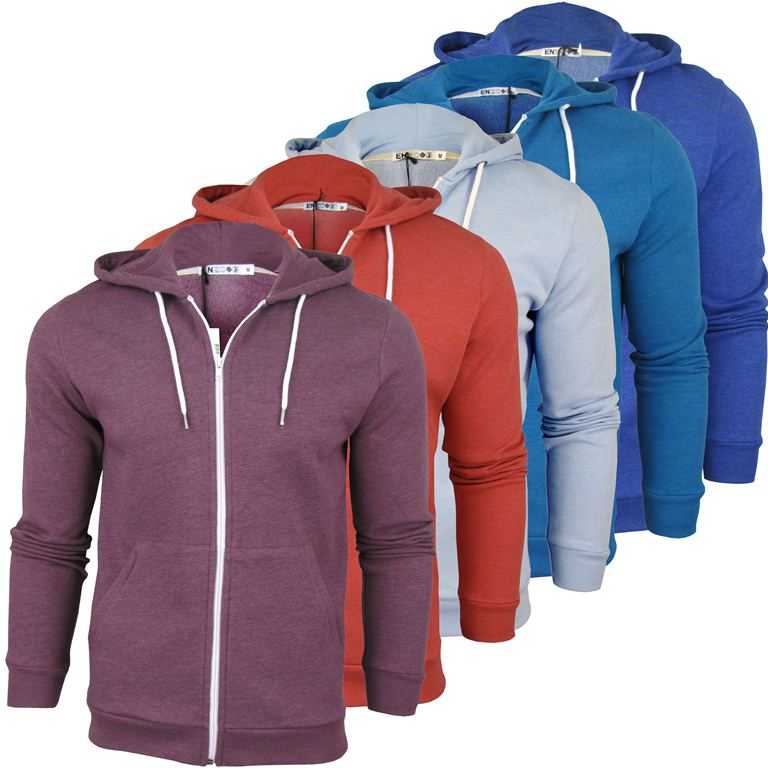 Enzo Mens Contrast Zip Hoodie Jumper Enlarged Preview