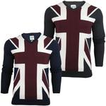 Mens Lambretta Mod Retro Union Jack Flag Knitt Jumper Fine Gauge V Neck