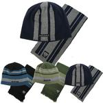 Mens Lambretta Striped Beanie Hat Reversible with Logo Navy/ Mel Grey Or Black/