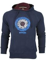 Mens Lambretta Sweater Paisley Target Print Hooded/ Hoodie Jumper