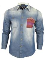 Mens Criminal Damage 'Borough' Long Sleeve Chambray Denim Blue Shirt