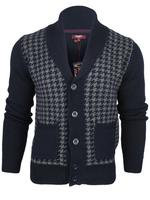 Mens Merc London Wool Rich Cardigan/ Jumper Dog Tooth Pattern