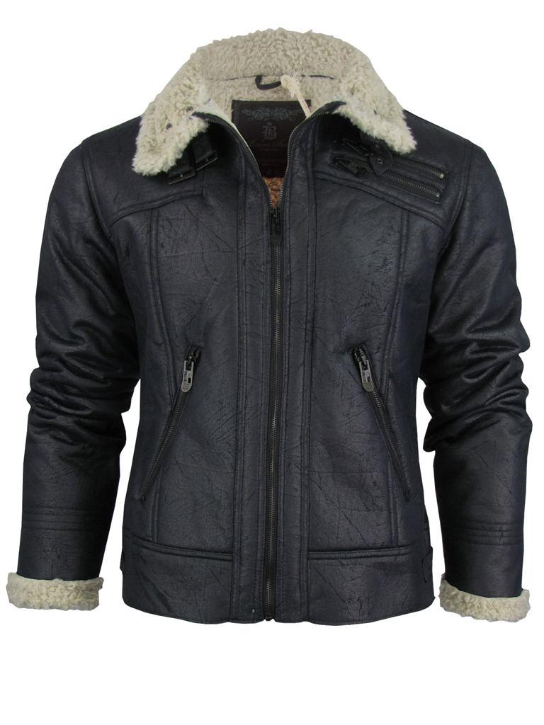Brave-Soul-Mens-Spitfire-Aviator-Jacket-Coat-Mens-Faux-Fur-Trim