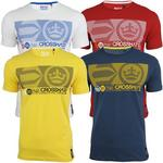 Crosshatch 'Srippa' Mens Crew Neck T Shirt Red, Denim, Yellow &amp; White