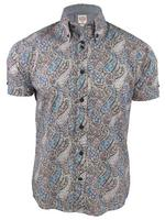 Lambretta Mens Mod Paisley Print Shirt Short Sleeved