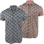 Mens Gabicci 'Manzarek' Mini Collar Floral Print Short Sleeved