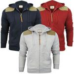 Mens Brave Soul Quilted Look Sweater Zip Tru Hoodie Jumper 'Crimson' Cord Patches