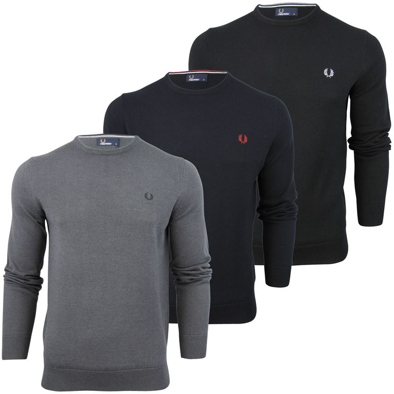 Fred Perry Merino Wool Crew Neck Jumper Laurel Logo Enlarged Preview