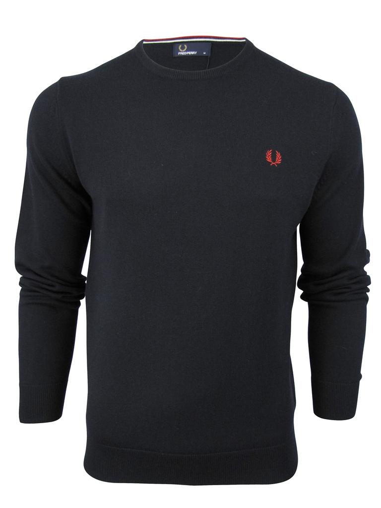 Fred-Perry-Merino-Wool-Crew-Neck-Jumper-Laurel-Logo