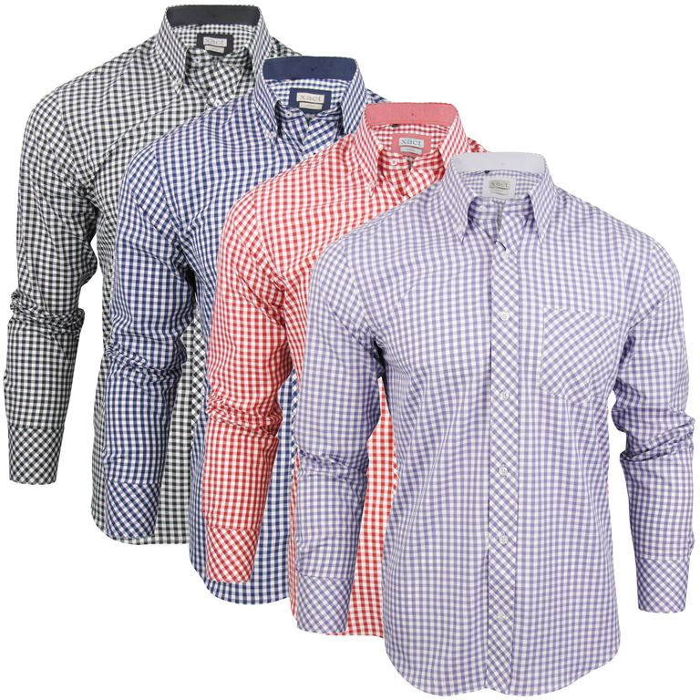 Mens long sleeve gingham check shirt button down collar for Slim fit gingham check shirt