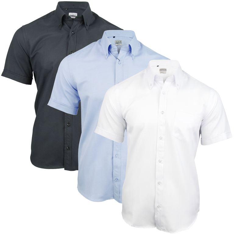 mens short sleeve plain oxford shirt button down collar