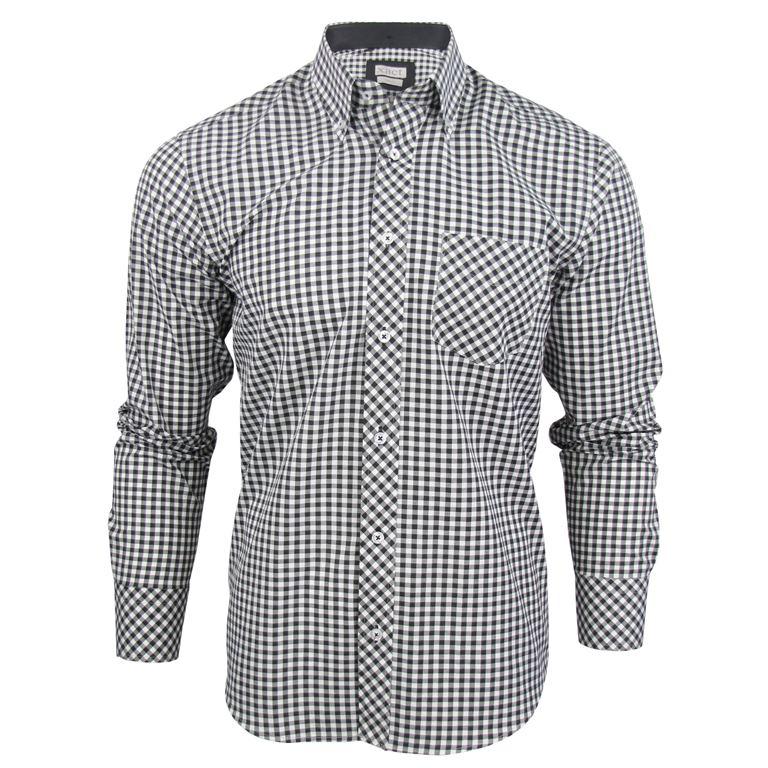 Mens Long Sleeve Gingham Check Shirt Button Down Collar