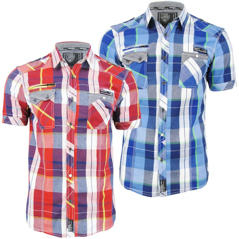 Mens Dissident Short Sleeved Fashion Check Shirt 'Keefer' Enlarged Preview