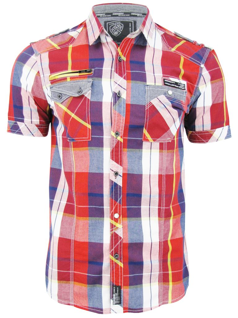 Mens-Dissident-Short-Sleeved-Fashion-Check-Shirt-039-Keefer-039