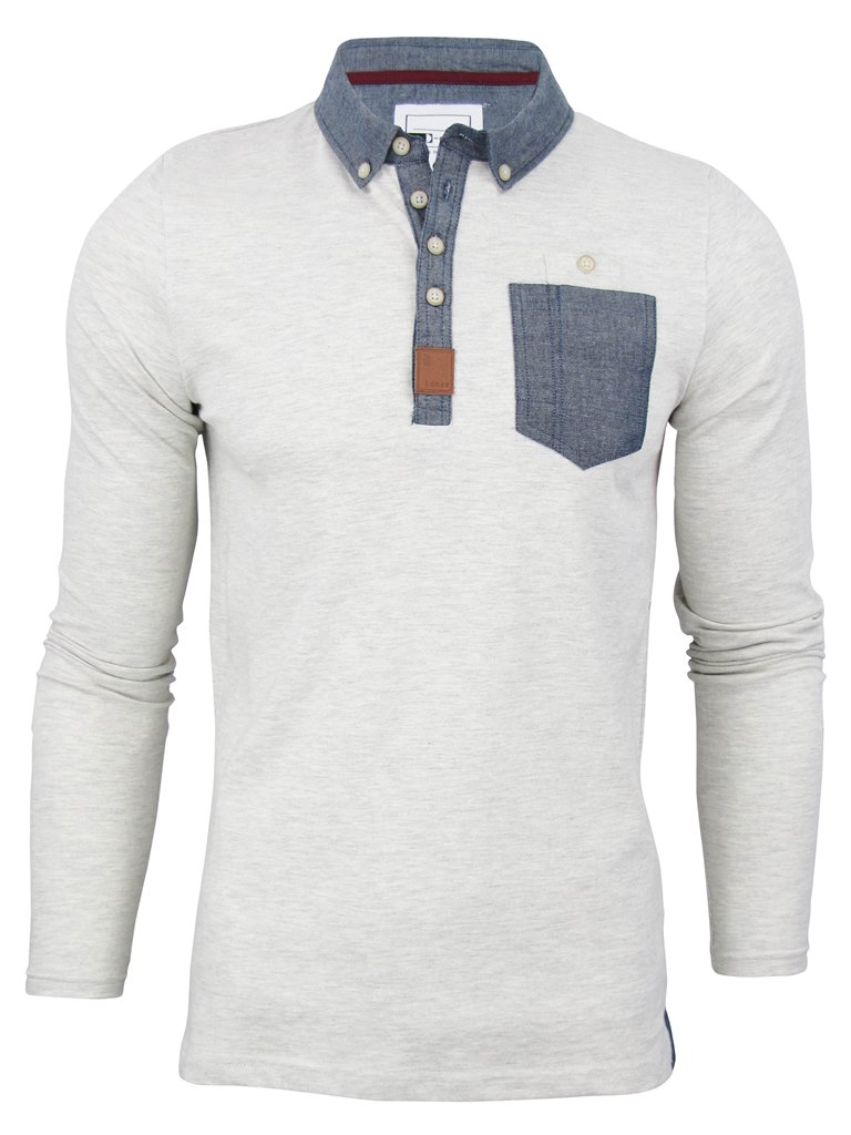 Mens d code 39 bill 39 polo long sleeve denim chambray trim for Button down t shirts