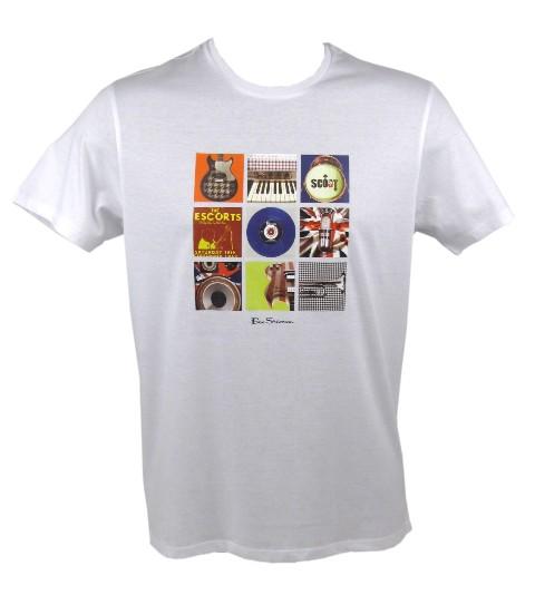 Mens-Ben-Sherman-T-Shirt-039-Instruments-039-White-Mod-Rock