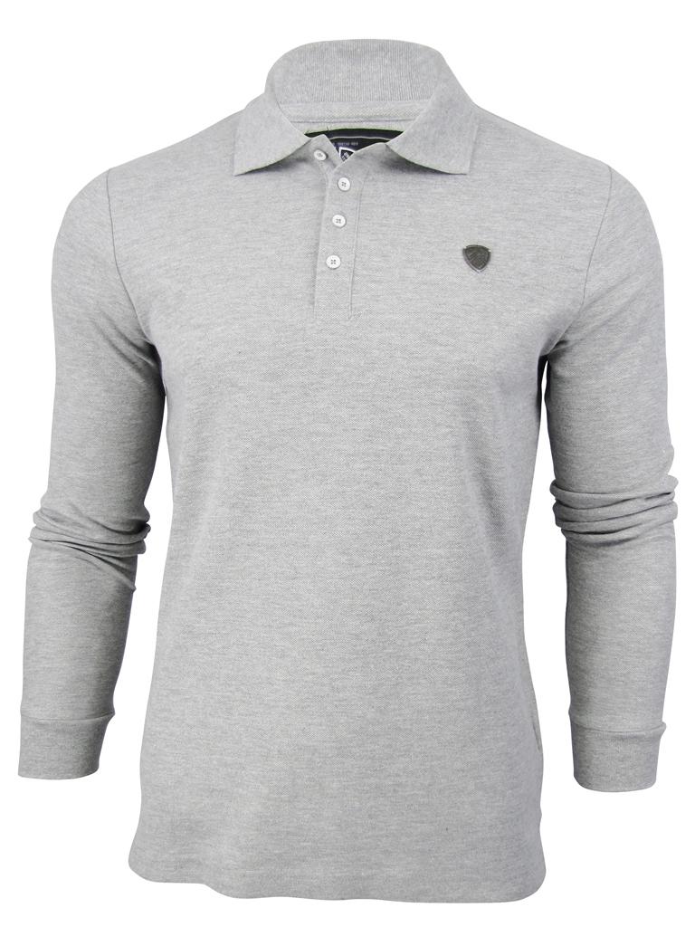 Mens-Dissident-Warren-Polo-Shirt-Long-Sleeved-Pique