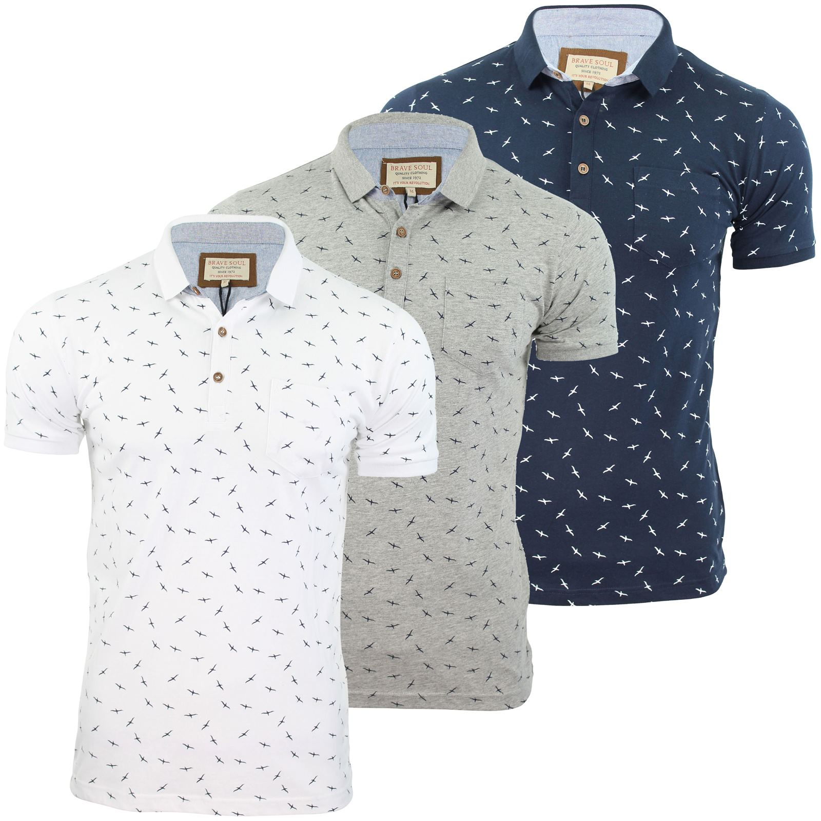 Brave soul mens polo t shirt 39 bruno 39 bird print short for Mens collared t shirts