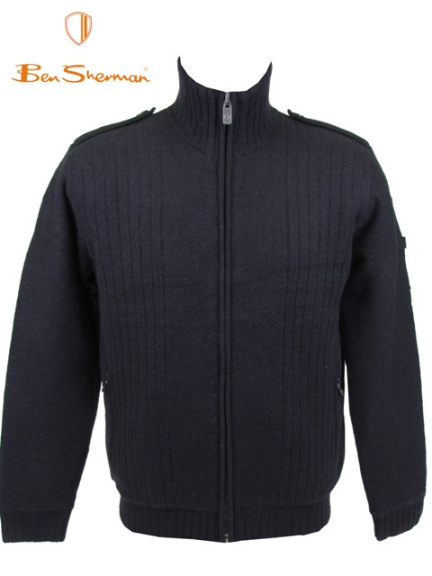 Mens-Ben-Sherman-Zipped-Padded-Wool-Jumper-Jacket-Black