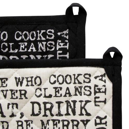 Set Of 2 SiL Vintage Quote Pot Holder Black And White Hot