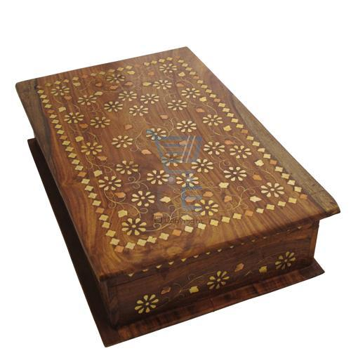 Large Hand Carved Wooden Box with Brass & Copper Inlay Enlarged Preview