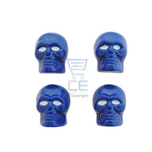 Skull Car or Bike Dust/Valve Caps- Blue with White Eyes Enlarged Preview
