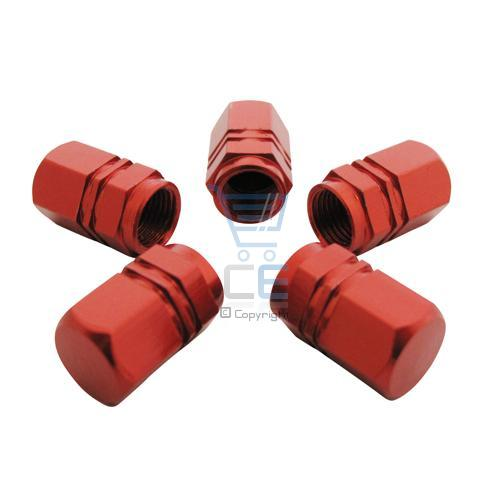 5 x Hexagon Car or Bike Dust/ Valve Caps - Red Metal Enlarged Preview