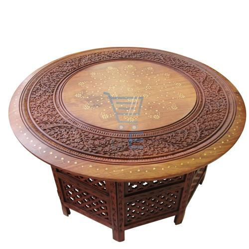 """Indian Hand Carved 30"""" Table With Brass & Copper Inlay"""