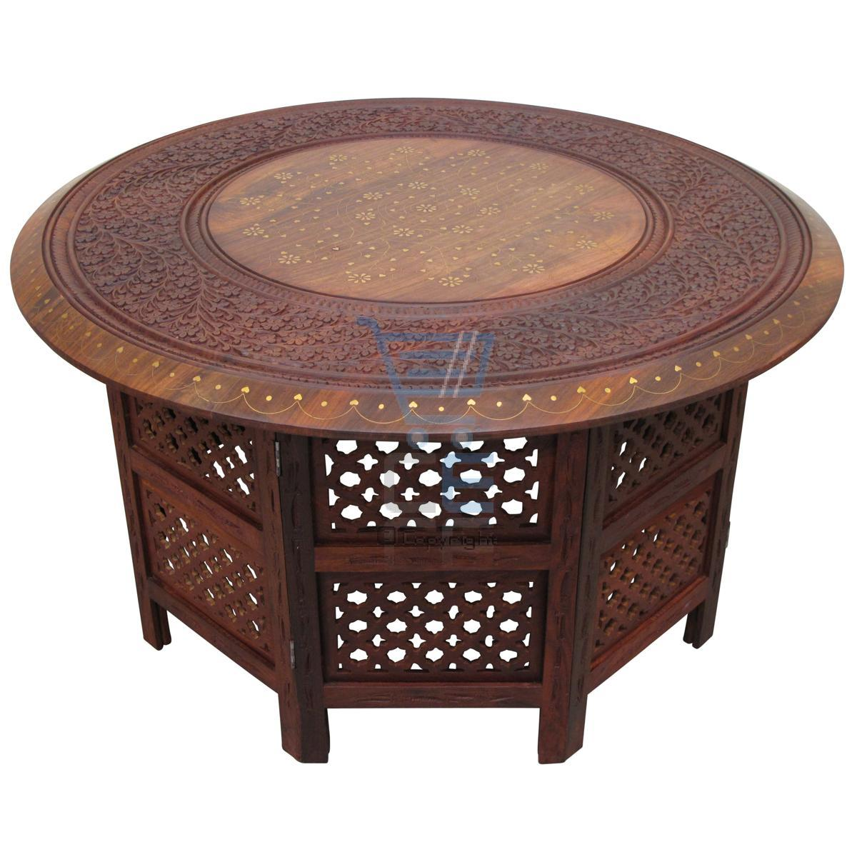 Large Round Coffee Table Brown Solid Wooden Hand Carved Indian Side Lamp Vintage Ebay