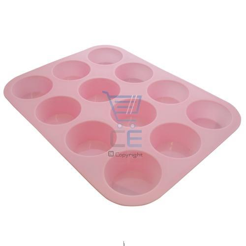 Non-Stick Baby Pink Silicone 12 Cup Muffin Tray Enlarged Preview