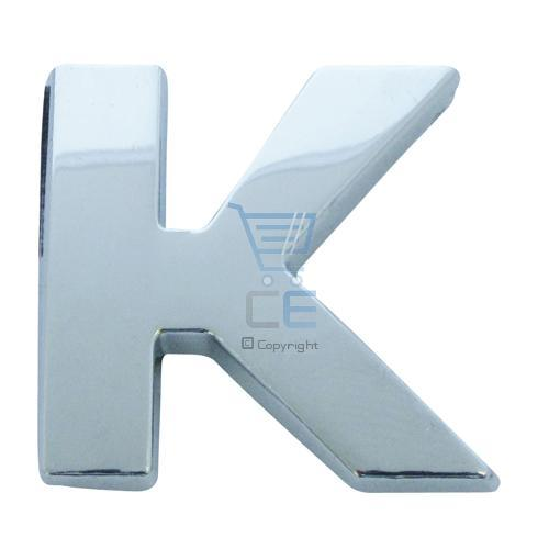 Chrome Look Letter K Car Badge/ Decal - Self Adhesive Enlarged Preview