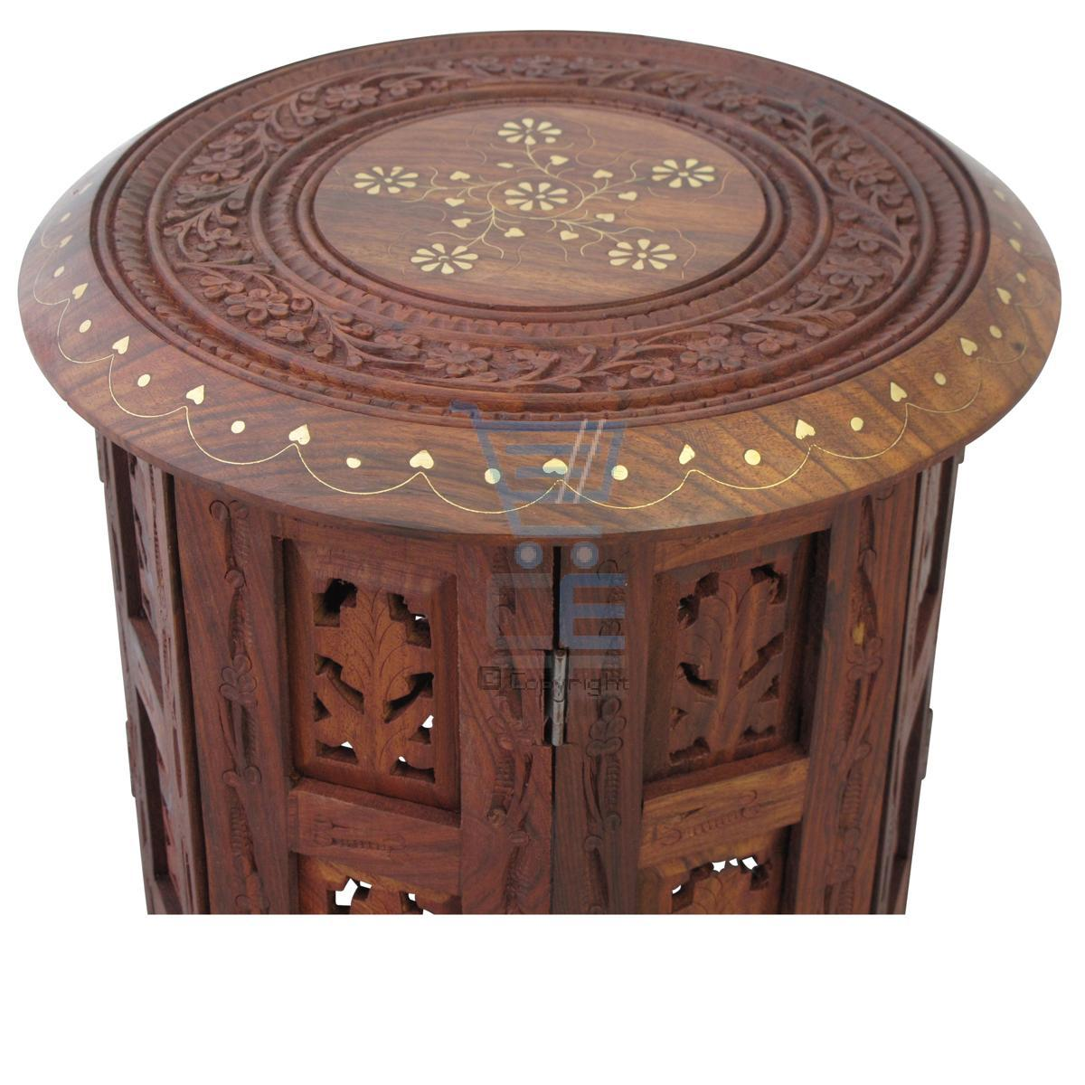Round 3 Round Coffee Table Made Of Metal Cm ø80x23h: Small Side Table Wooden Round Coffee Lamp End Brown Hand