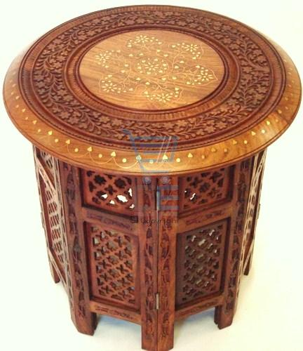 "15"" Hand Carved Small Round Side Table With Brass Inlay"
