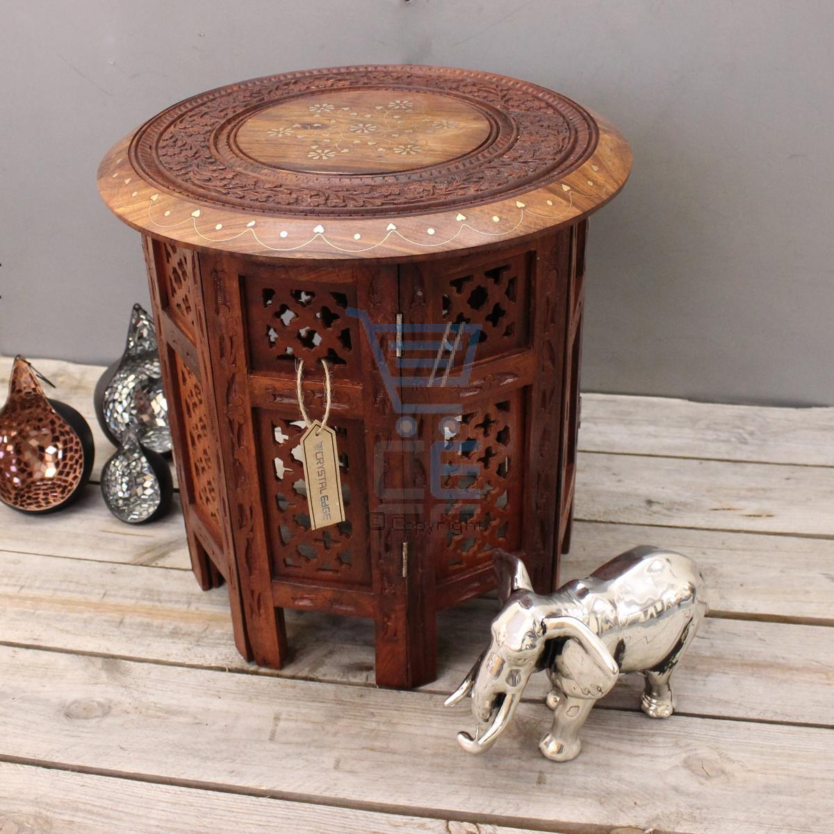 Small Side Table Wooden Round Coffee Lamp End Brown Hand