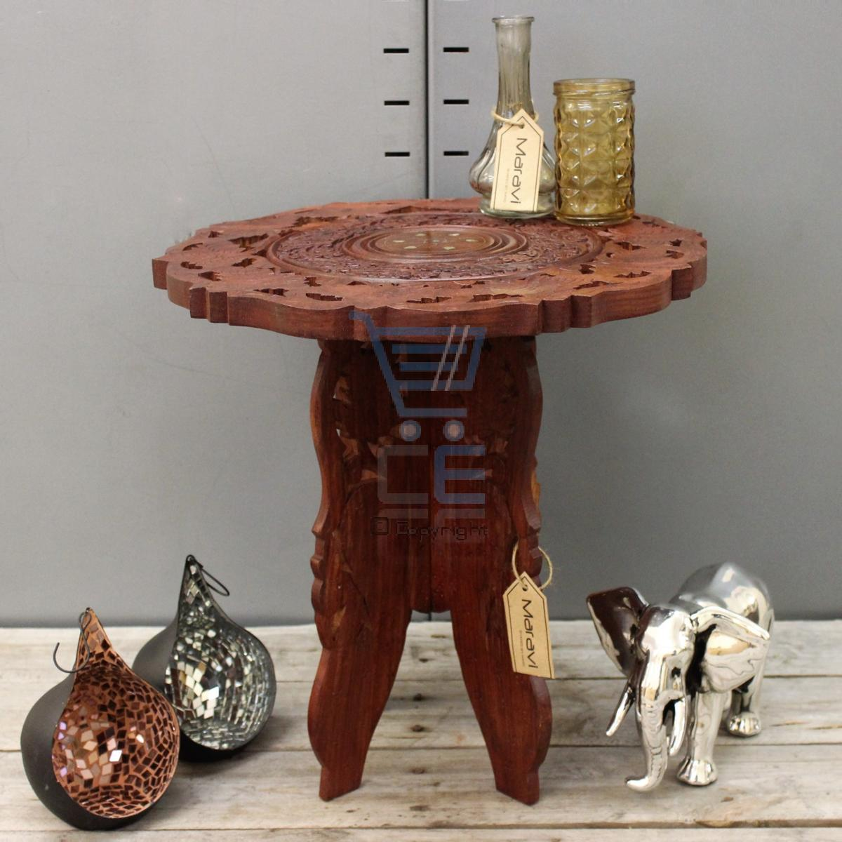Round Coffee Table Online India: Small Side Table Wooden Round Coffee Lamp End Brown Hand