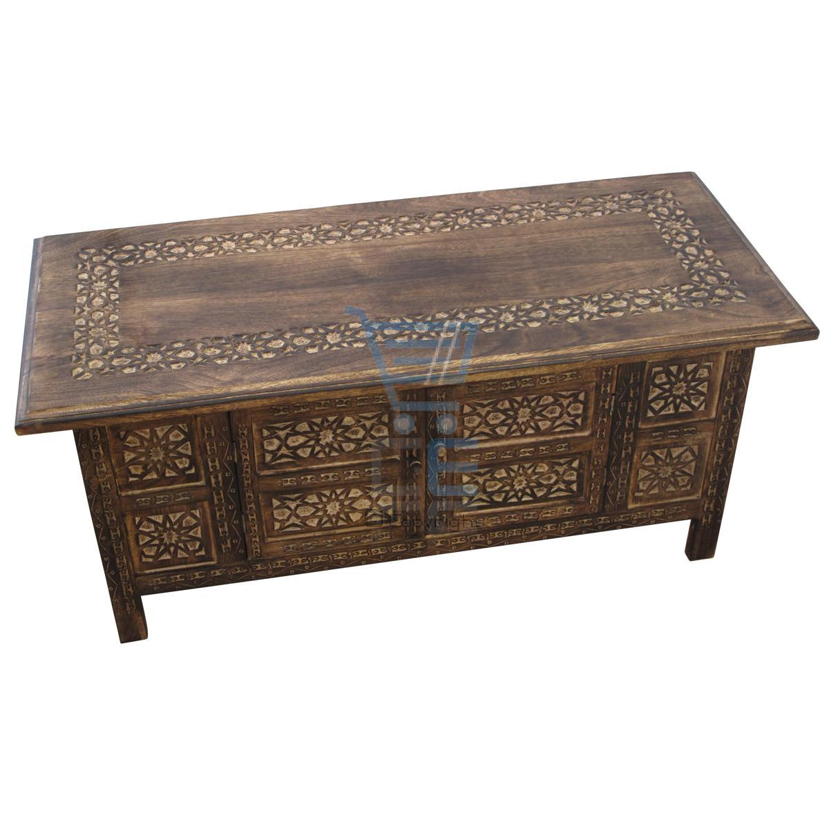 Mango wood coffee table with storage - Mango Wood Coffee Table With Storage Rectangle Coffee Table Moroccan Style Carving Storage Compartment Mango Wood With