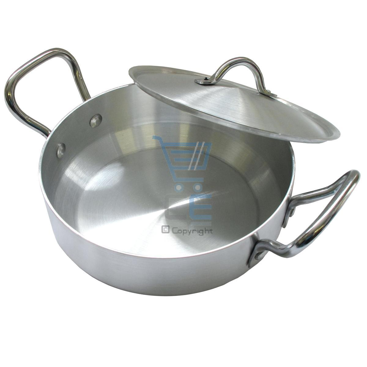 Sonex 24cm flat wok karahi aluminum cooking pot indian for Cuisine aluminium