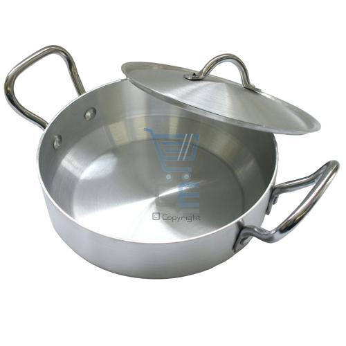Sonex 27cm flat wok karahi aluminum cooking pot freep p ebay for Aluminum cuisine