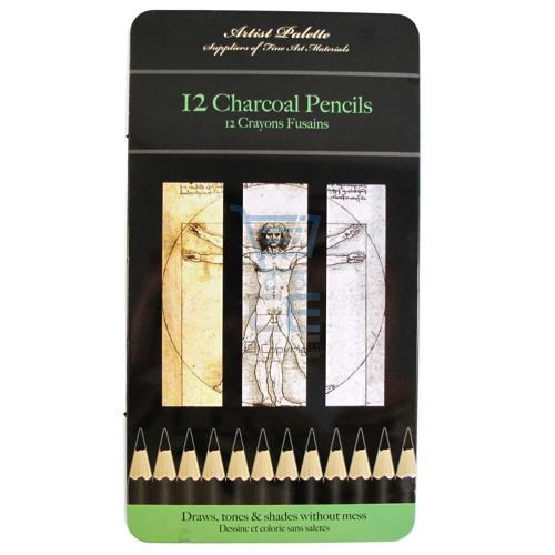 12 x Black CHARCOAL PENCILS TIN Shades NEW Enlarged Preview
