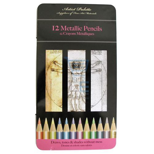 12 x METALLIC COLOUR PENCILS TIN Colouring Shades NEW Enlarged Preview