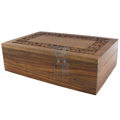 Medium Hand Carved Wooden Jewellery Box - Locking Box / Trick Box Enlarged Preview