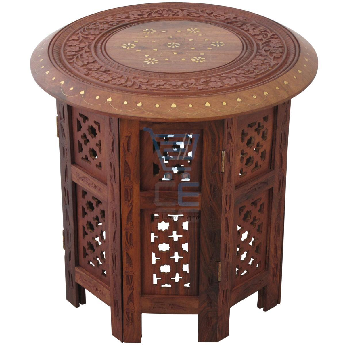 "Indian Hand Carved 15"" Table With Brass Inlay Octagonal"
