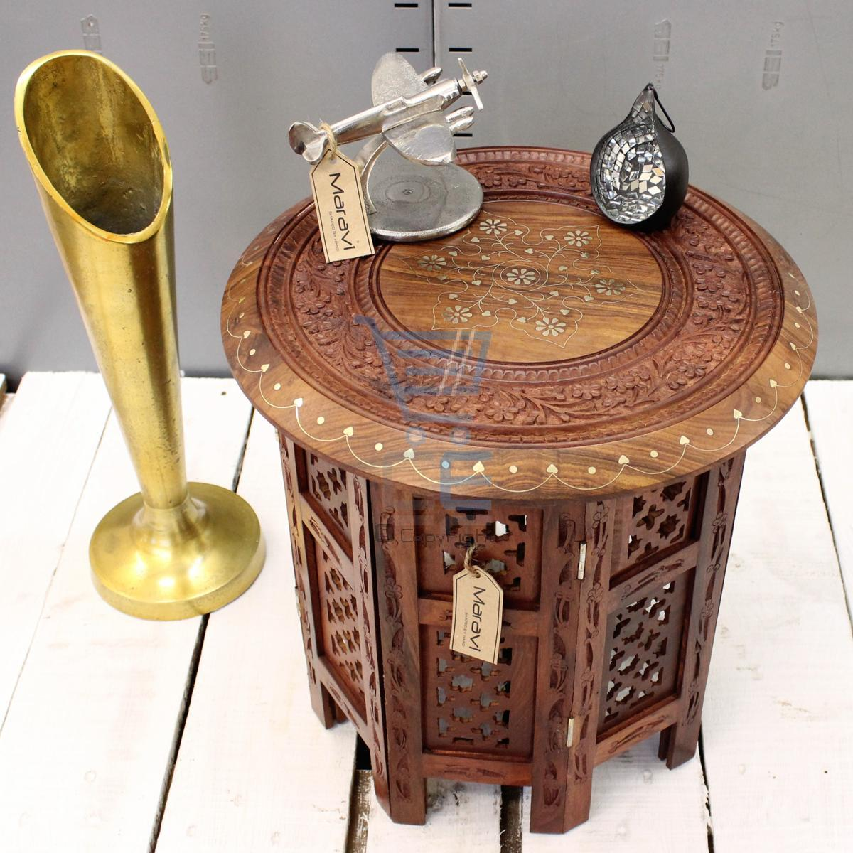 small side table wooden round coffee lamp end brown hand carved indian home room ebay. Black Bedroom Furniture Sets. Home Design Ideas
