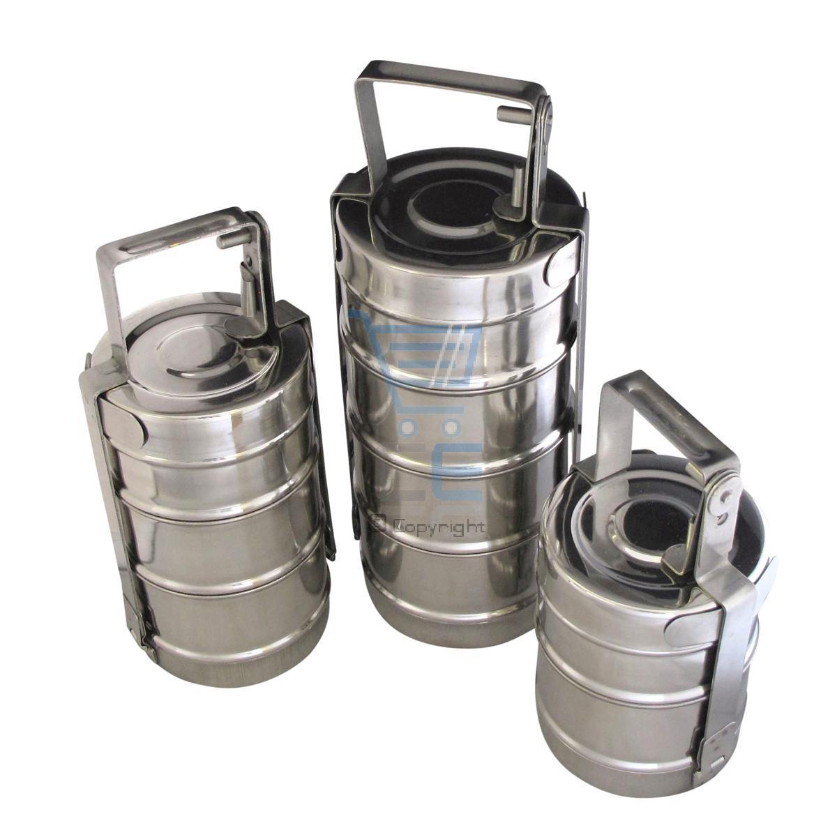 Edelstahl Tiffin 3 4 Oder 2 Bereiche 10cm Indian Lunchbox