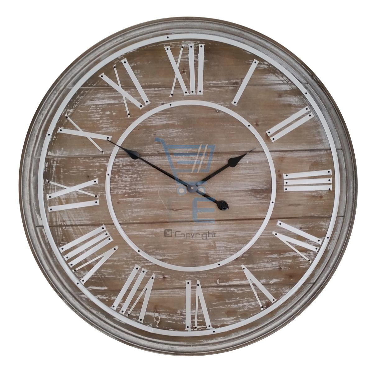80cm holz wanduhr vintage shabby chic gro jethelm r mische ziffern ebay. Black Bedroom Furniture Sets. Home Design Ideas