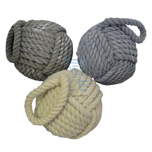 Rope door stop heavy weight stopper rope ball grey cream for Heavy rope for nautical use